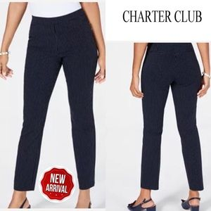Charter Club Striped Slim-Leg Navy Pants Sz12